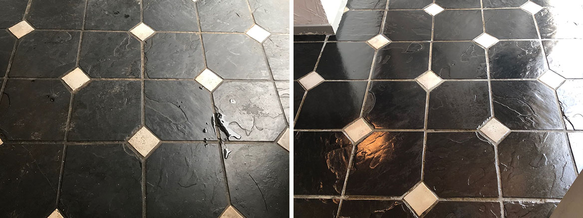 Bolivian Black Slate with White Ceramic Tozzettos Before and After Cleaning Blackpool