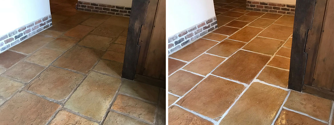 Sandstone Effect Concrete Before and After Cleaning Garstang
