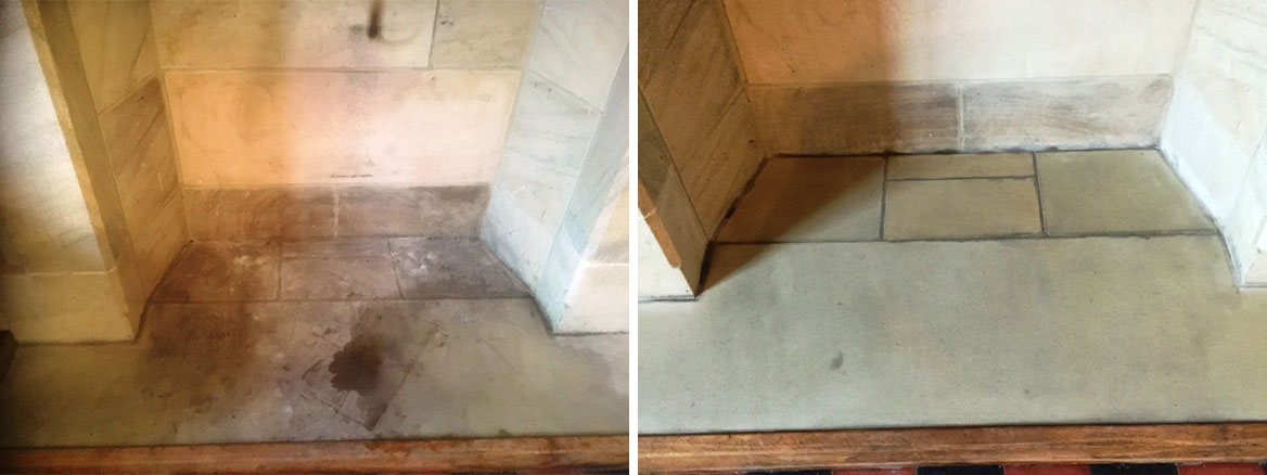 Sandstone Fireplace Preston Before and After Cleaning