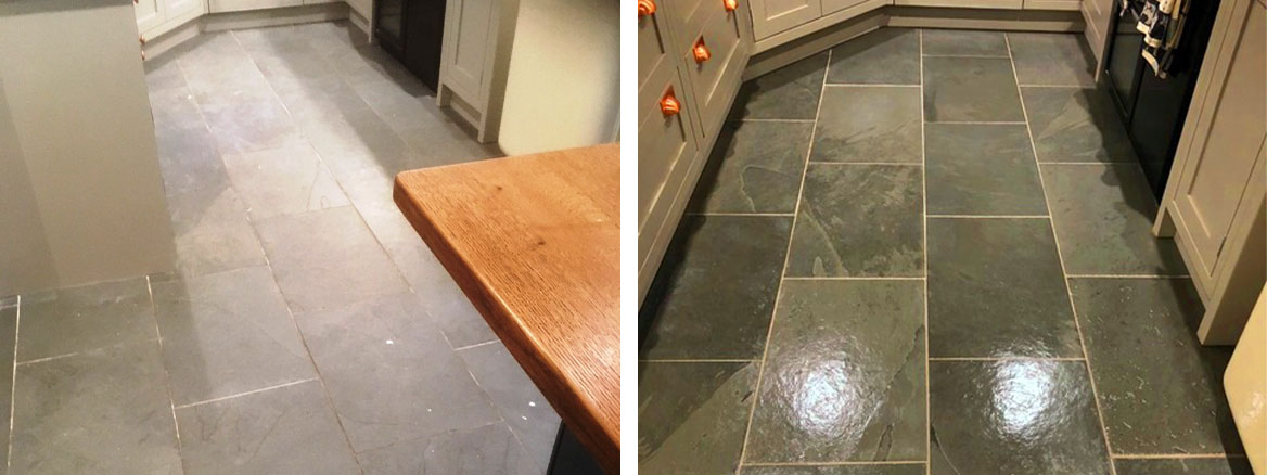 Semi Riven Slate floor Before and After Cleaning Hornby