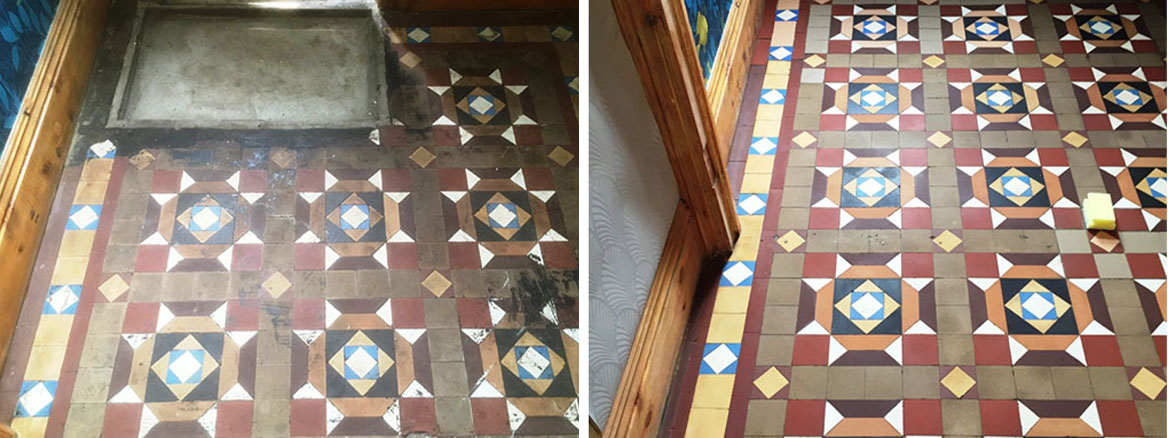 Victorian Hallway Floor Before and After Restoration in Barrow in Furness