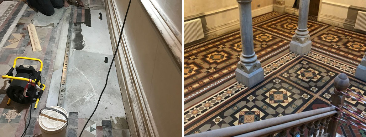 Victorian Tiled Floor Stone Cross Manor Hall Before and After Restoration