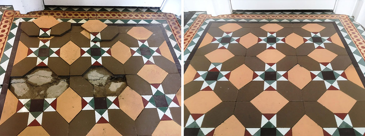 Victorian floor tiles Before and After restoration Lancaster