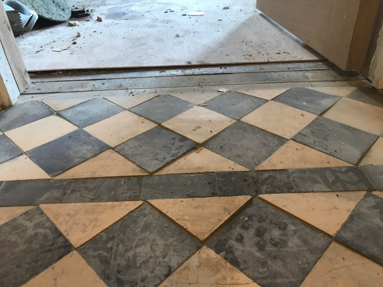 Yellow and Black Victorian Tile Floor During Restoration Lancaster