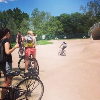 Bikes at the skate park.