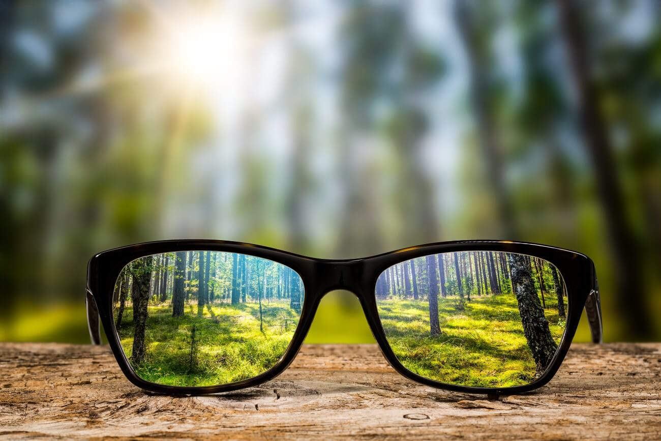 Smart Glasses with Woods Background