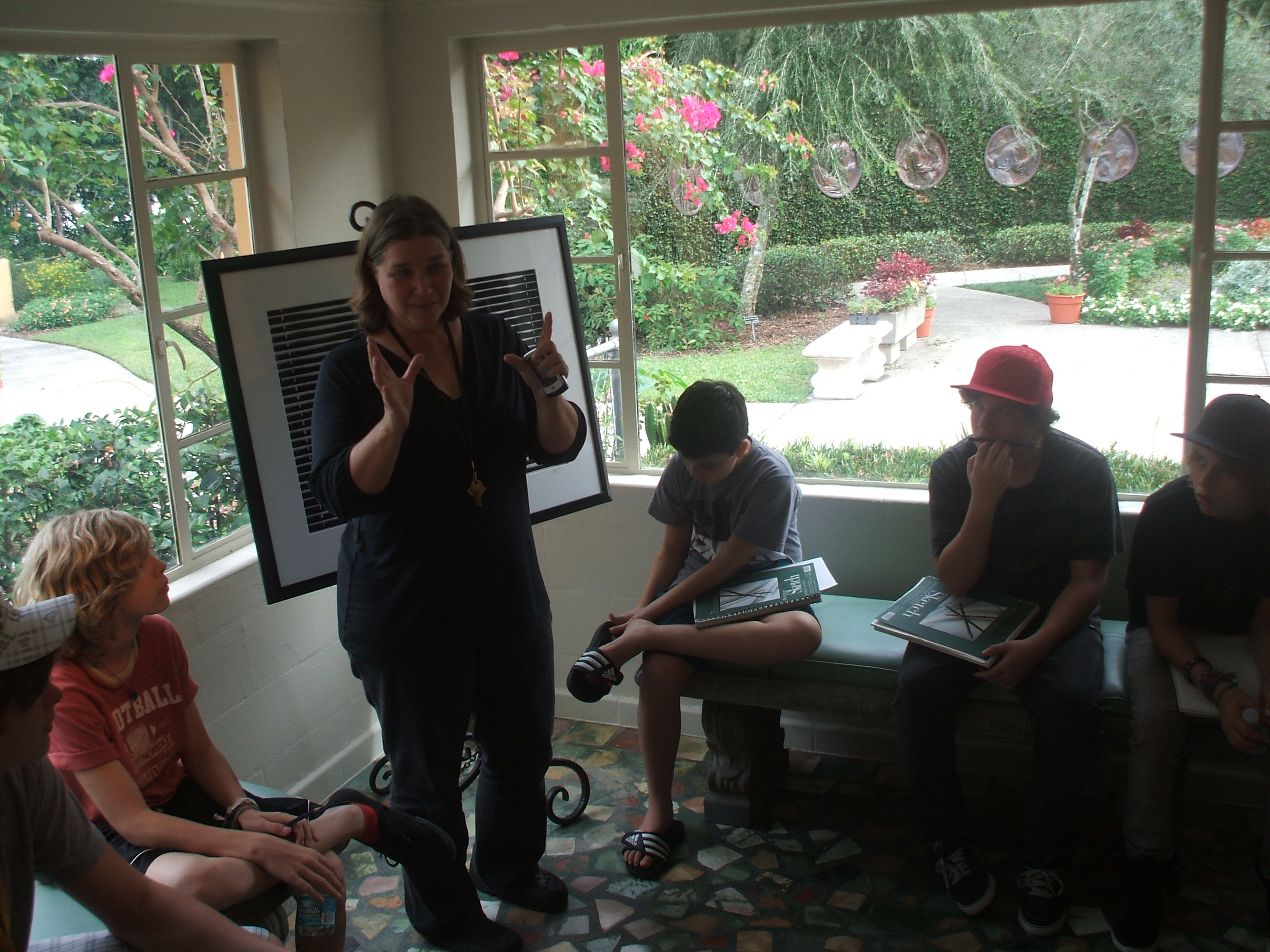 Museum Curator, Karen Louden, Gives a Brief Talk to the Montessori Students