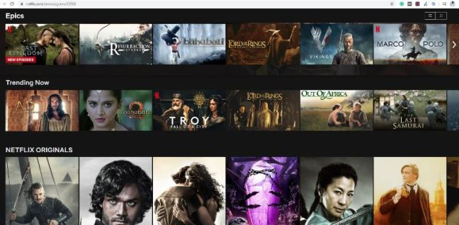 Netflix Categories from the letter E