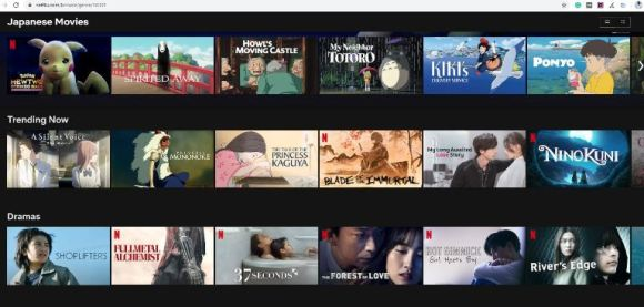 Netflix Categories from the letter J