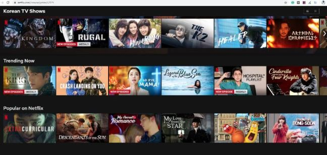 Netflix Categories from the letter K