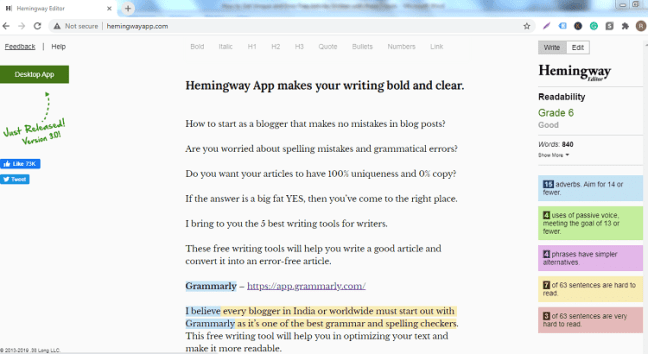 Hemingway content writing and best writing tools for writers