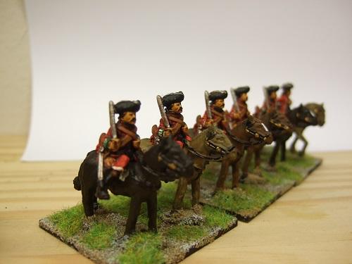 Mounted dragoons 3 men + 3 horses