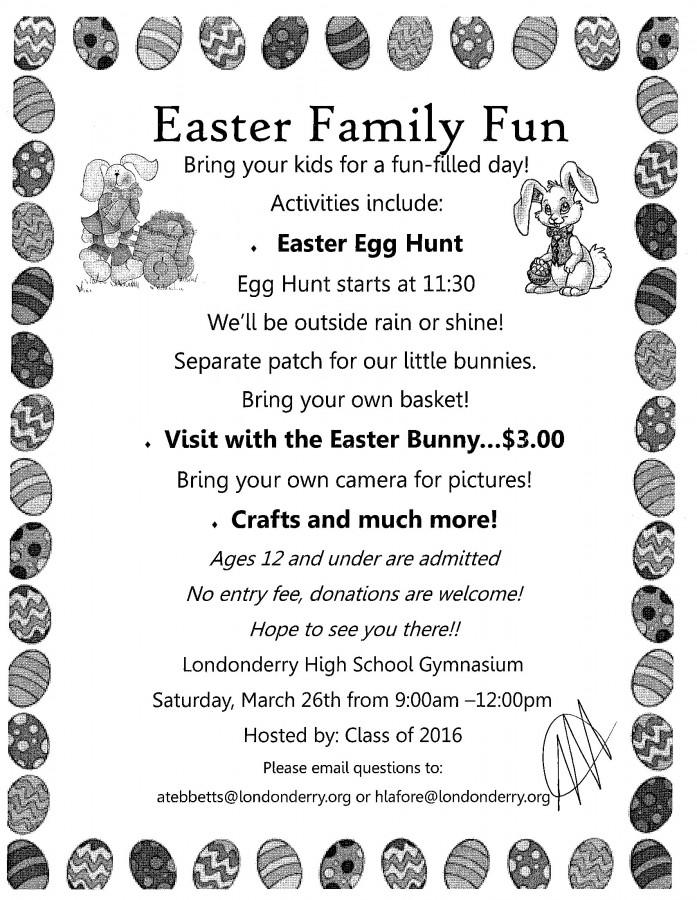 Class of 2016 invites families to attend annual Easter Egg