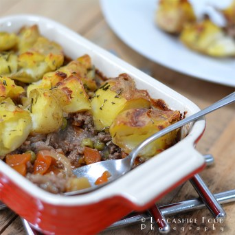 Beef and Vegetable Cottage Pie topped with Rosemary Crushed Potatoes