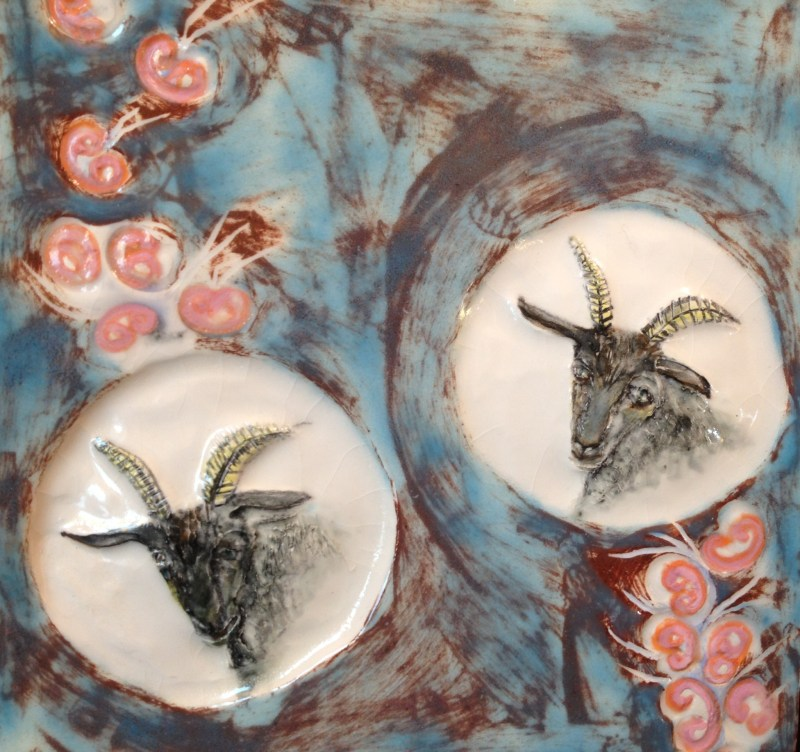 Goat tile in white earthenware painted, with transparent glaze. SOLD