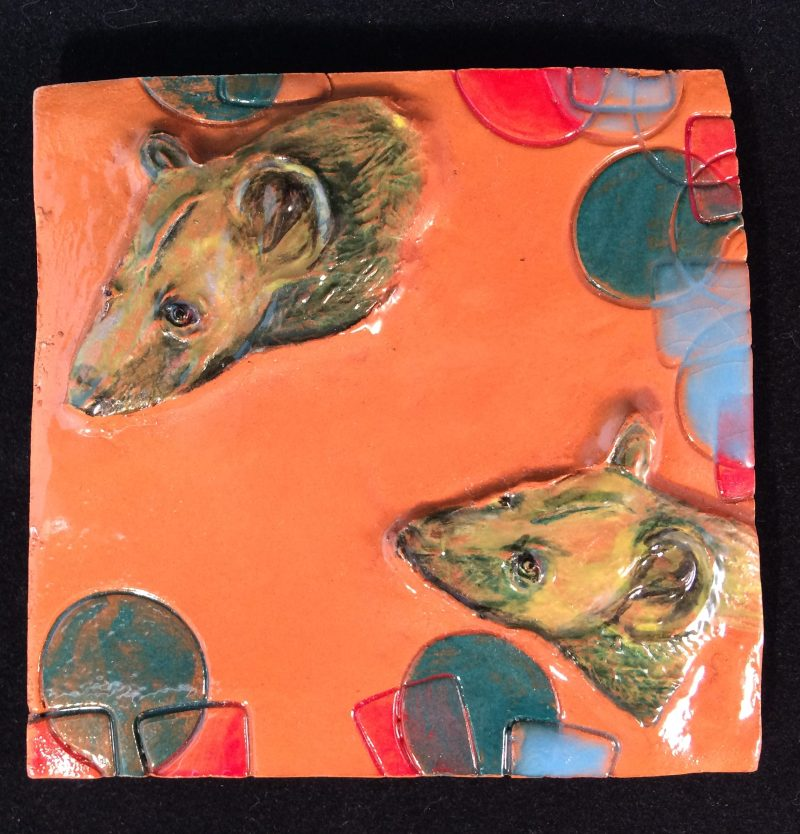 Hyena plaque on earthenware, glazed and painted. SOLD.