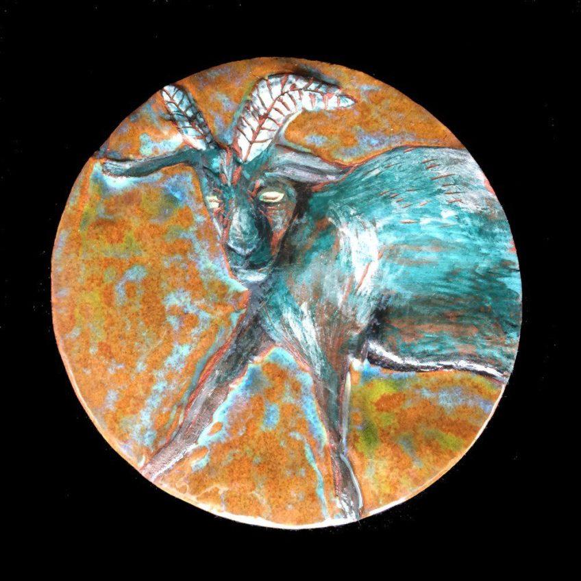 Circular goat tile.