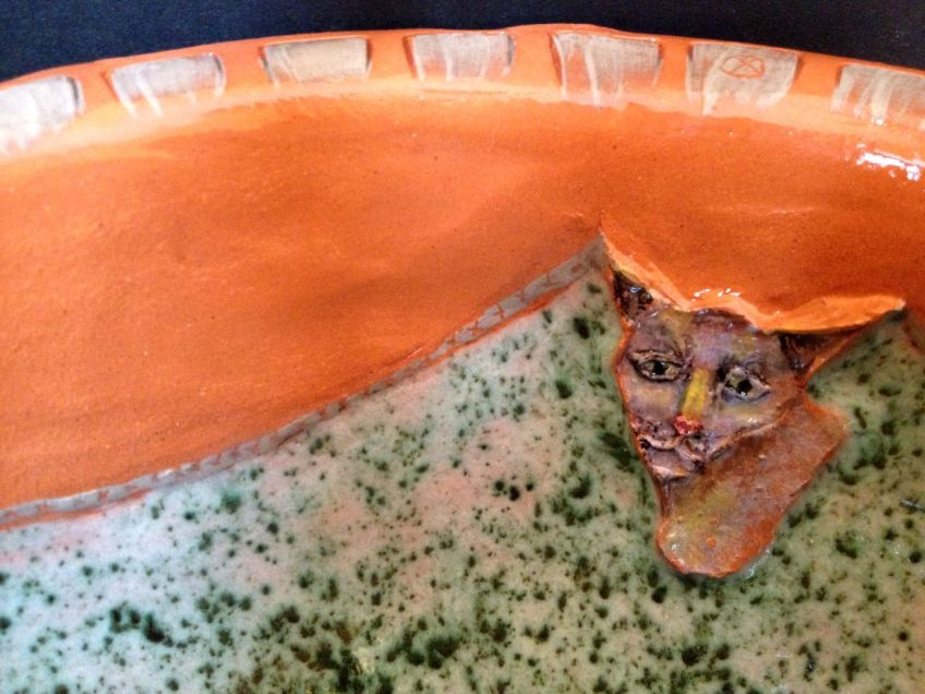Cat bowl, detail.