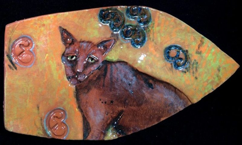Ceramic cat - hanging wall art.