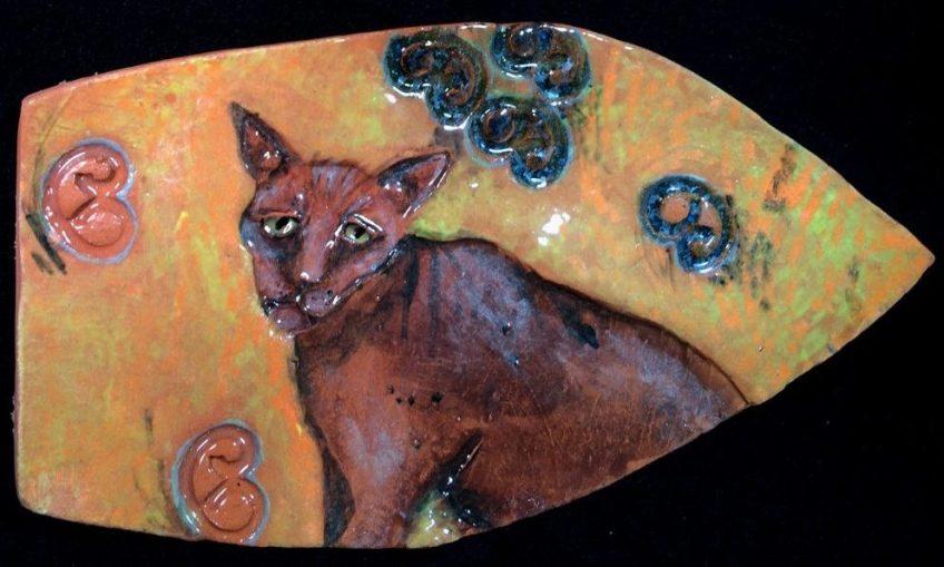 Ceramic cat - hanging wall art.