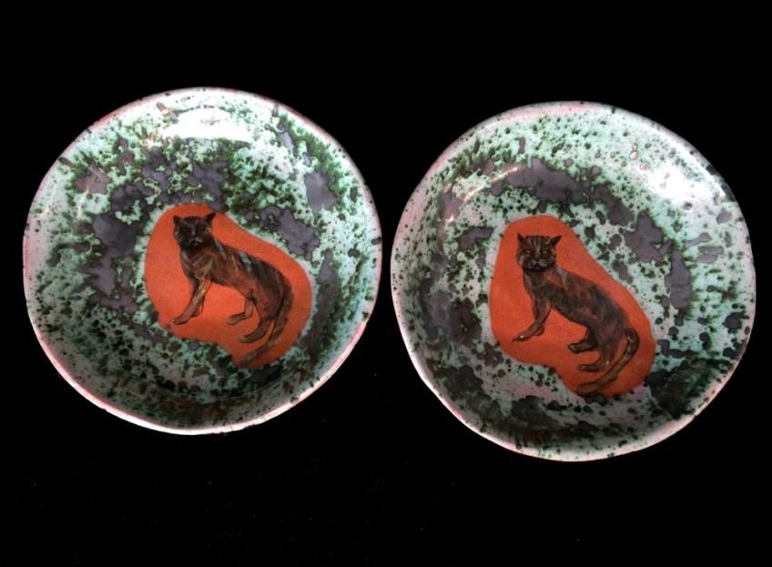 Handpainted ceramic cat dishes. SOLD.