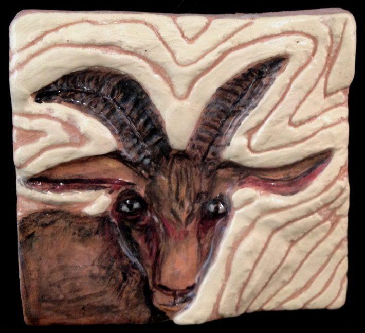 Swirling painted slip goat. SOLD.