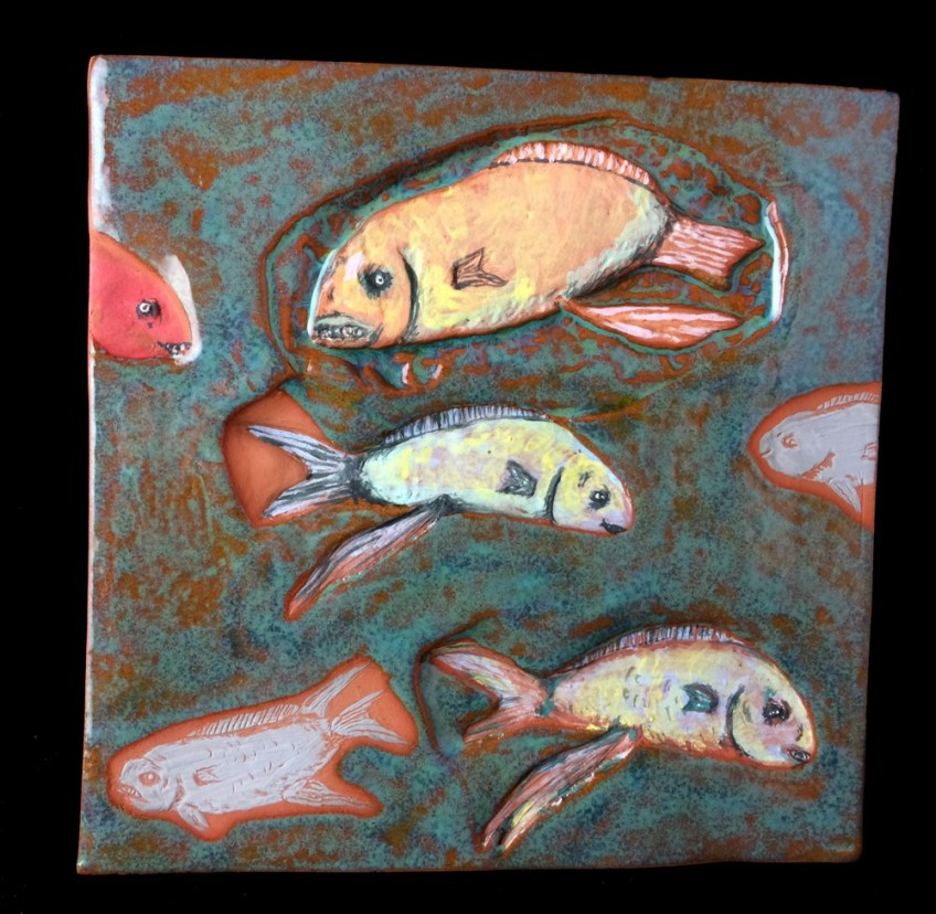 Fish tile with foot stand. SOLD.