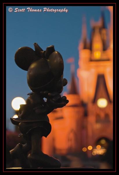Minnie Mouse statuette in the hub area of the Magic Kingdom, Walt Disney World, Orlando, Florida