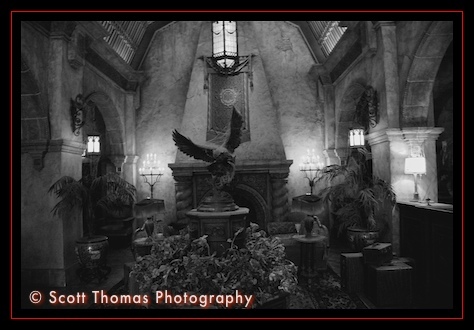 Twilight Zone Tower of Terror Lobby in Black and White in Disney's Hollywood