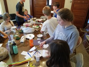 Frankfort Home School students assemble their model air samplers.