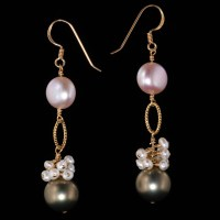 Grey & Pink Pearl Gold Dangle Earrings  Land and Sea Jewelry