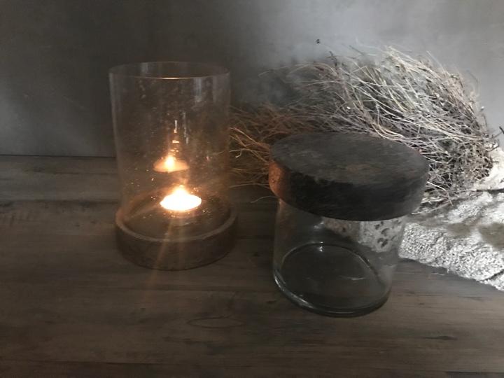Glazen Windlicht / Pot met deksel