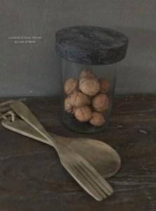 Decoratieve set houten vork en lepel