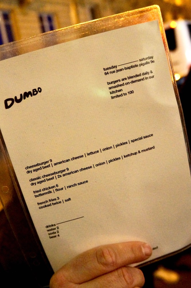 Dumbo Paris Menu