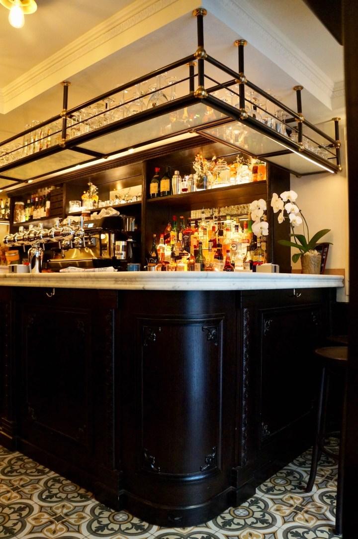 Bar with tiled floor