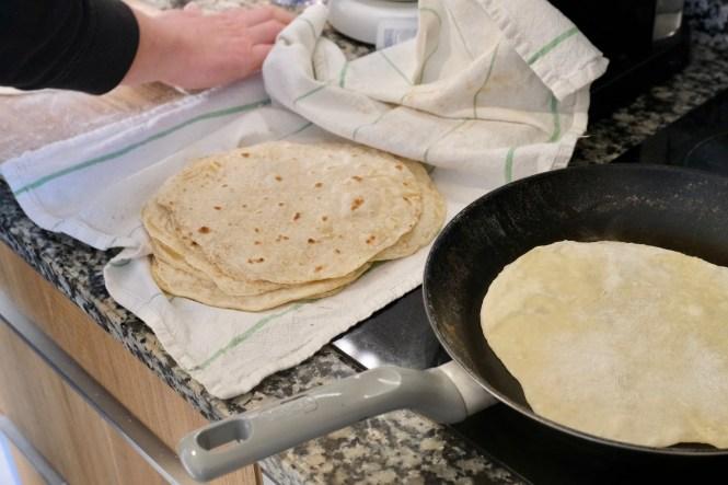 homemade butter tortilla assembly line