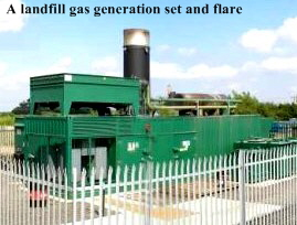A landfill gas generation set and flare