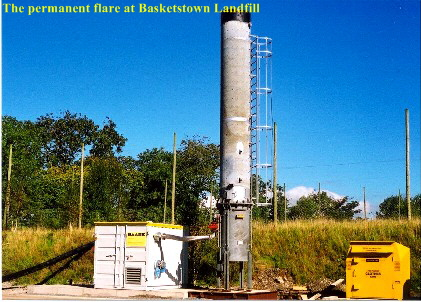 A landfill gas flare at the Basketstown Landfill in the 1990s.