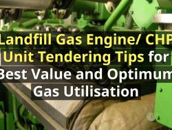 Image shows this article's title over a landfill gas engine or CHP untit