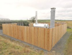 Photo shows a landfill gas recovery compound..