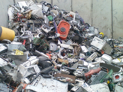 Recycling of Electrical and Electronic Goods - a waste electircal and electronic goods pile