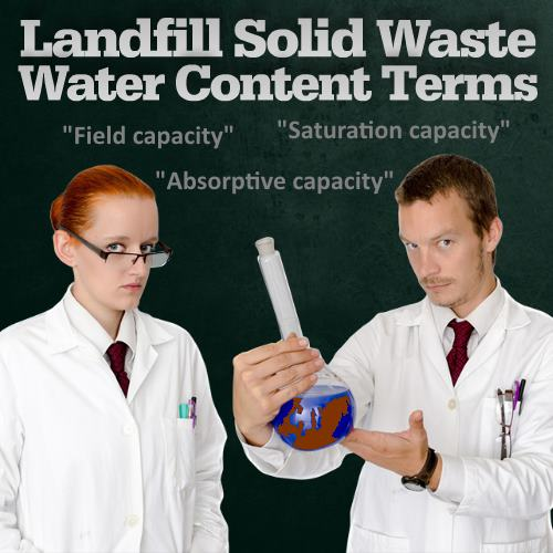 Water content terms for landfills saturation capacity