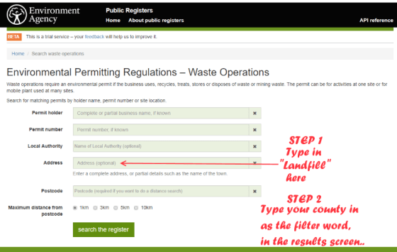 Image shows how to find an e=inter waste landfill by finding landfills near you.