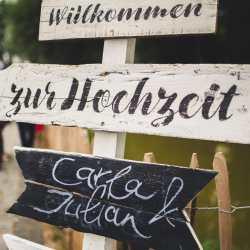 Wilkommensschild Hochzeitslocation mit Außenbereich