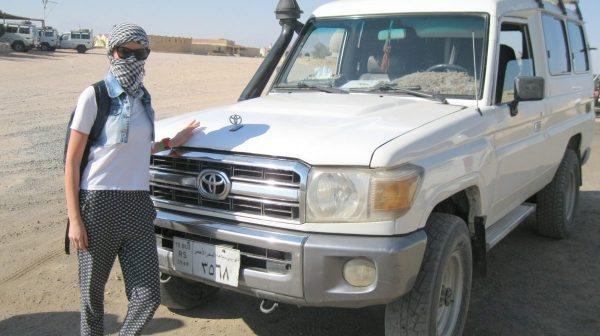 Excursion super jeep safari in Hurghada: tourist was photographed by a jeep