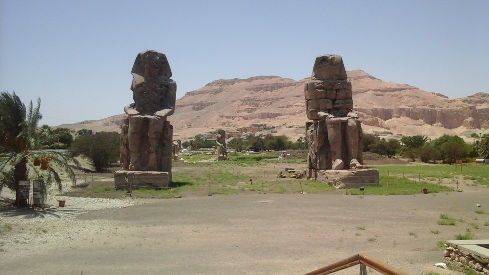The Colossi of Memnon in the temple of Amenhotep