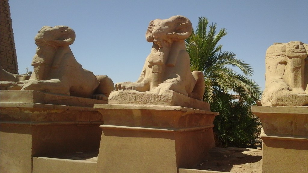 The Avenue of Sphinxes in the temple of Karnak