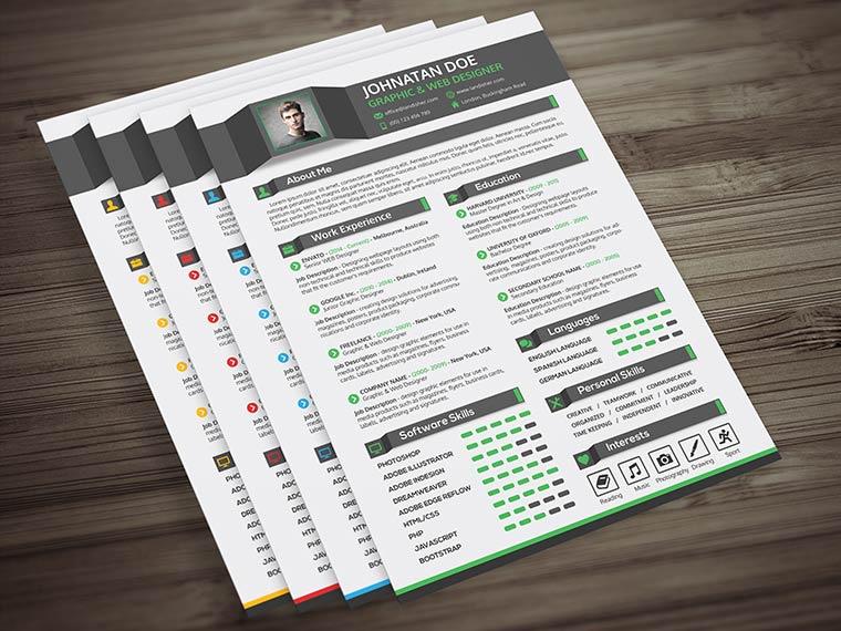 Creative Resume CV Cover Letter & Portfolio PSD Template