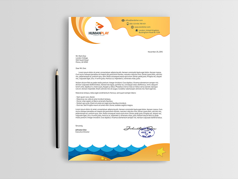 Travel Agency Letterhead PSD Template Landisher