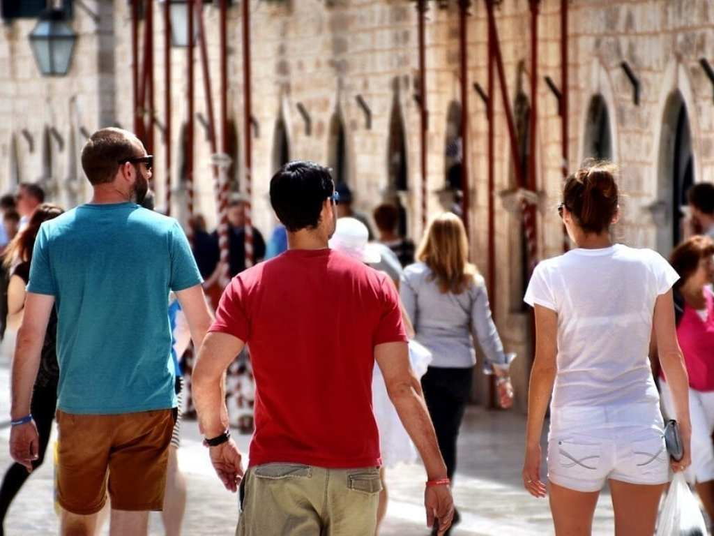 Young kids backpackers Dubrovnik Croatia